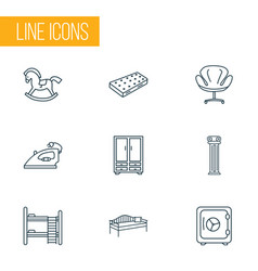 decor icons line style set with cupboard safe vector image