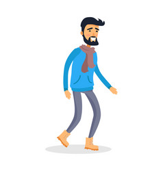 Dressed caucasian isolated man with smile runs vector