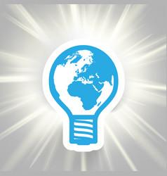 earth bulb shining vector image