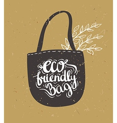 Eco bag with leaves Hipster Vintage Stylized vector