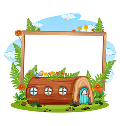 empty banner with fantasy timber house vector image