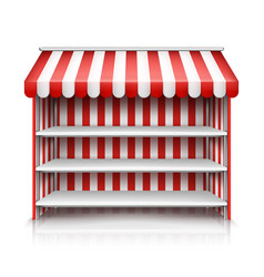 Empty market stall with shelves and awning vector