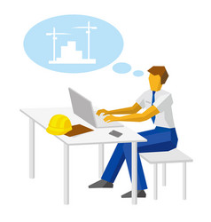 Engineer with laptop thinking about construction vector