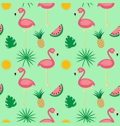 flamingotropical fruits seamless pattern vector image