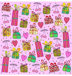 gifts on a pink background vector image