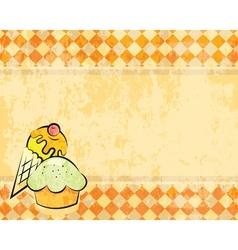 Grunge checkered background with dessert vector
