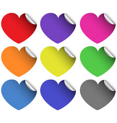 Heart stickers in different colors vector