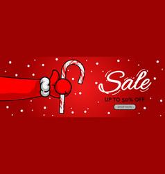 holiday sale horizontal banner santas claus hand vector image
