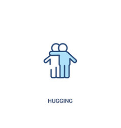 Hugging concept 2 colored icon simple line vector