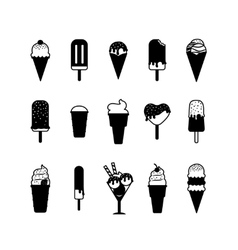 Ice cream black icons vector image