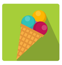 Ice cream cone icon flat style with long shadows vector