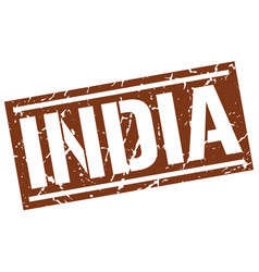 india brown square stamp vector image vector image