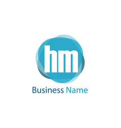 initial letter hm logo template design vector image