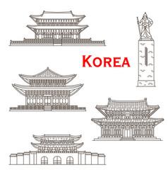 korean travel landmarks of seoul gate palaces vector image