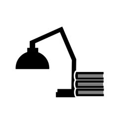 Lamp and book stack icon vector