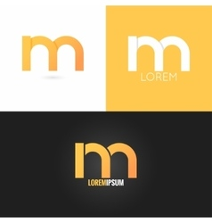 Letter M logo design icon set background vector
