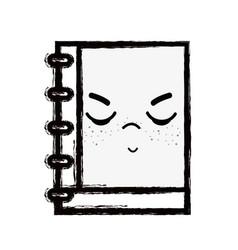 Line kawaii cute angry notebook tool vector