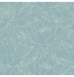 Lotus flowers in seamless pattern vector image