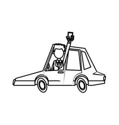 Man with smartphone drive car sedan transport line vector