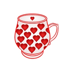Mug of with red hearts part of porcelain vector