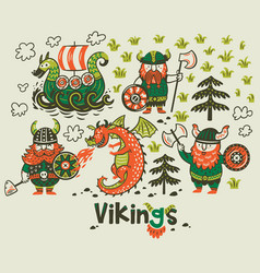 nordic collection with vikings dragon and ship in vector image