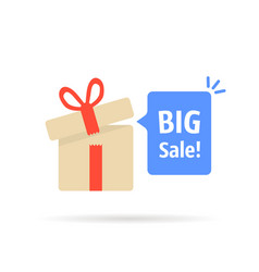 open gift box with big sale bubble vector image