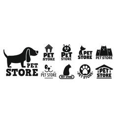 open pet store logo set simple style vector image