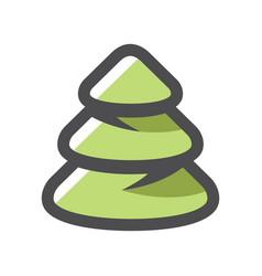 pine tree green wood icon cartoon vector image