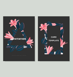 pink rain lilies and ficus elastica leaves vector image