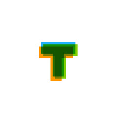 pixel letter t logo icon design vector image