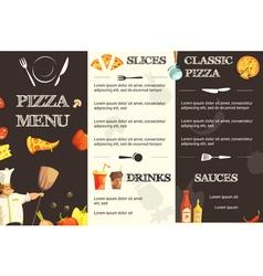 Pizza Menu Flat Template For Restaurant vector
