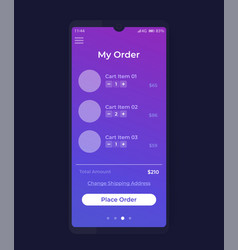 Place order mobile app ui design vector