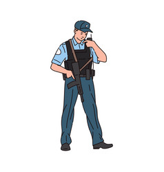 policeman or guard talking on walkie-talkie vector image