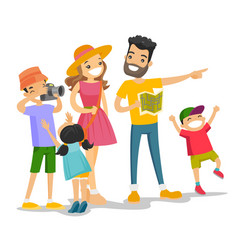 positive caucasian white family traveling together vector image