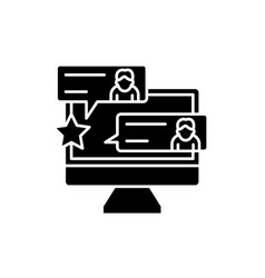 reviews black icon sign on isolated vector image