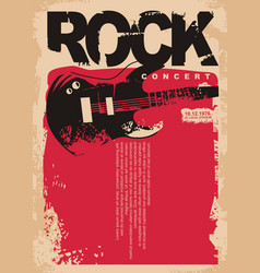 rock concert poster template with electric guitar vector image