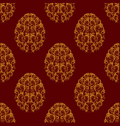 Seamless pattern from gold floral eggs over red vector
