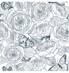 Seamless pattern of wild roses blossom branch and vector