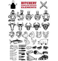 set butchery meat shop design elements vector image