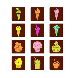 set of bright cupcakes and ice cream icons vector image