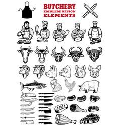 set of butchery meat shop design elements vector image