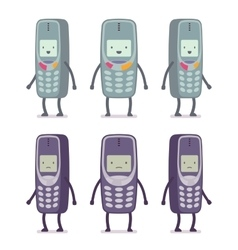 Set of happy and unhappy retro cell phones vector image