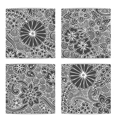 Set of ornamental ethnic black and white zendoodle vector image