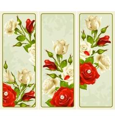 Set rose vertical banners vector