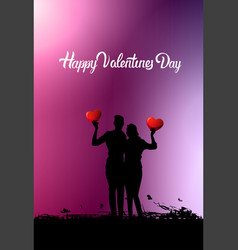 silhouette couple holding hearts embracing happy vector image