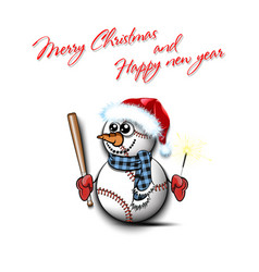 snowman from baseball balls with bat and sparklers vector image