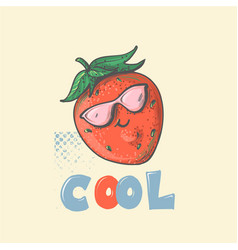 strawberry cartoon smiling character with cool vector image