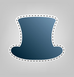 top hat sign blue icon with outline for vector image