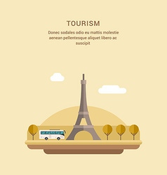 Tourism Concept Flat Style The Eiffel Tower on vector image