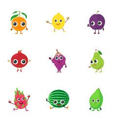Tropical garden mix icons set cartoon style vector